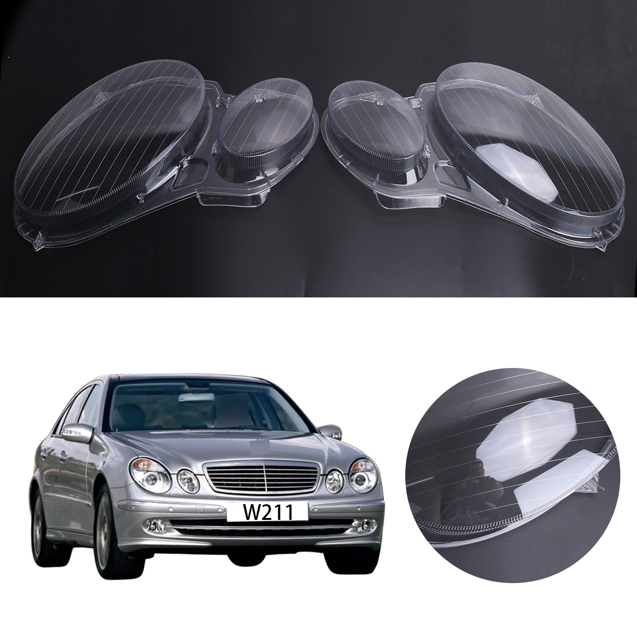 2x Transparent Housing Headlight Lens Shell Cover Lamp Assembly For Mercedes Benz E-CLASS W211 E320 E350 E300 2006 - 2008 #PD554