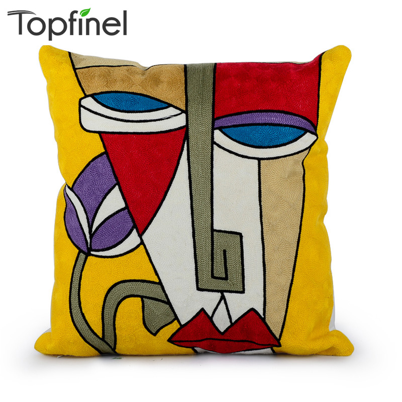Topfinel Cartoon Broderi 100% Cotton Pudebetræk Home Dekorative Kaste Pudebetræk Cover til Home Sofa Car 45x45cm
