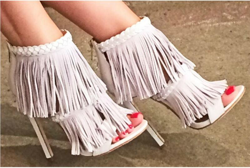 Hot selling fashion opened toe tassel women sandal boots cover suede ankle boots women stiletto heel pumps party high heel shoes