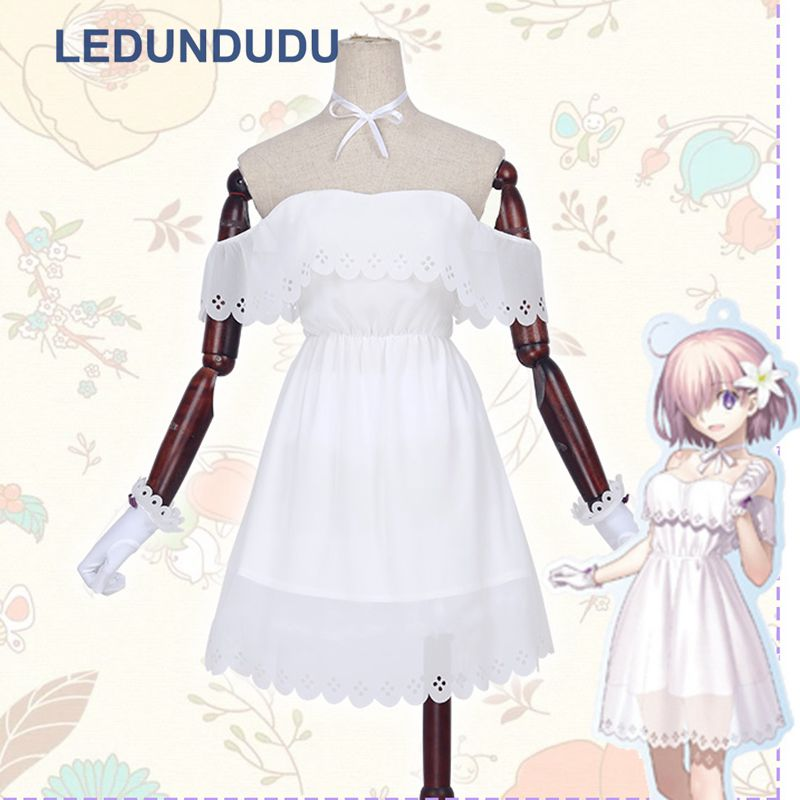 Buy Hot Anime Fate/Grand Order FGO Mash Kyrielight 2nd Anniversary Cosplay White Dress Women Fancy Party Clothes Halloween Costume for only 34.99 USD