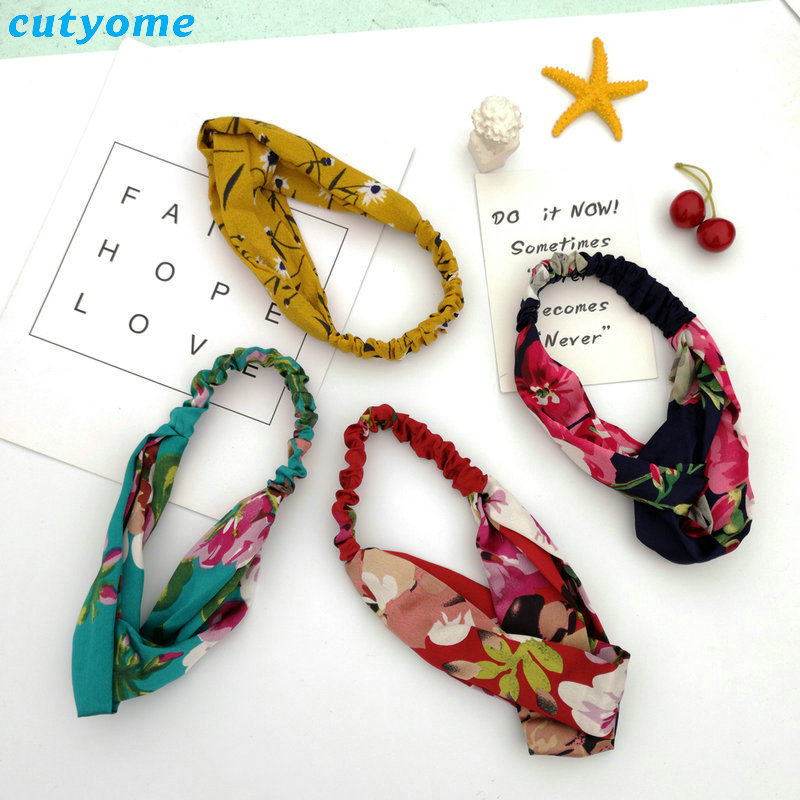 Family Mother and Daughter Floral Headband Summer Bohemia Women Girls Elastic Headwraps Family Matching Hair Accessories Set (5)