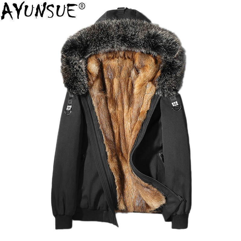 AYUNSUE Mens Mink Coat Parka Real Fur Men Winter Jacket Raccoon Fur Collar Short Coats 2019 Luxury Parkas L18-6603 KJ1308