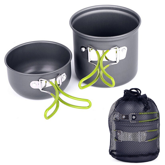 Outdoor  Camping cookware   Aluminum Pots Pans Bowls with foldable handleset Hiking Picnic Cooking Set non-stick Cookware YHEJ