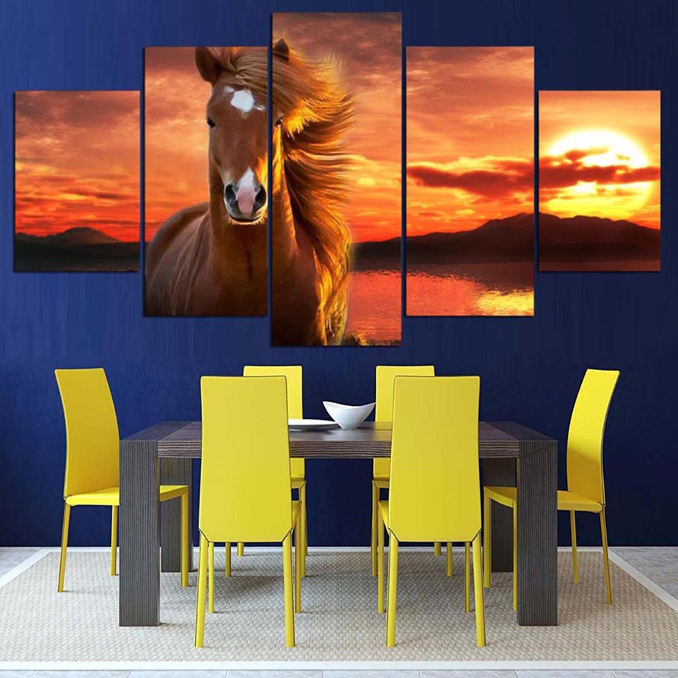 Painting Wall Art Modular Framework HD Home Decor Printed 5 Panel Sunset Animal Horse Modern Canvas Living Room Pictures Poster
