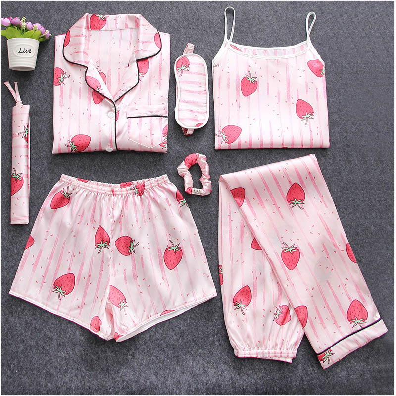 2019 tops spring and summer 7 piece of   pajamas   for women print plus size   pajamas     set   home suit and sleepwear clothing