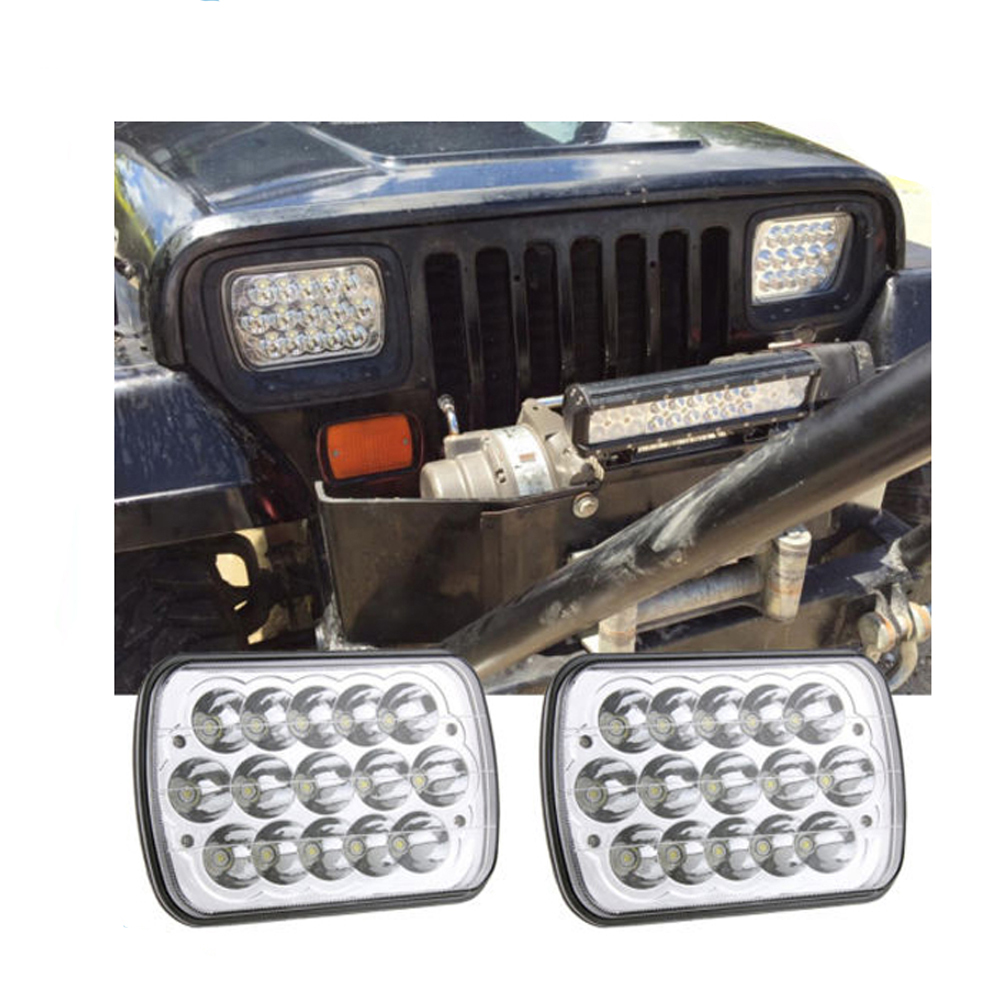 ECAHAYAKU 2 pcs 7 inch Square 45W LED Work Light Bar Headlight Lamp High/Low Beam driving light For car Truck Offroad atv suv