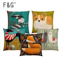 Abstract Animal Cushion Cover Alpaca Lion Toucan Fox Cat Dog Horse Rabbit Camel Home Decoration Car Sofa Pillowcase