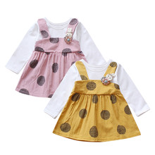 Toddler Kid Baby Girl Long Sleeve Rabbit Floral Princess Dress Tops Clothes Bow Party Dropshipping W530