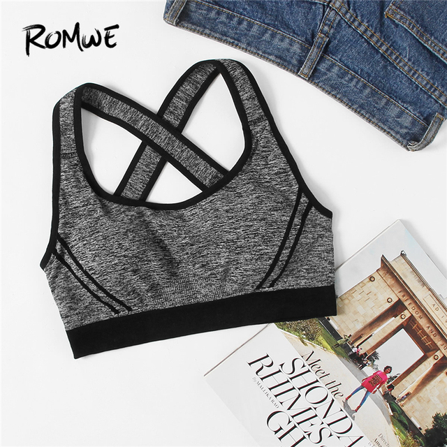 298f2b24d9 Romwe Sport Criss Cross Back Contrast Piping Sports Bra Women Grey Plain  Yoga Fitness Sport Wear 2018 New Workout Tank