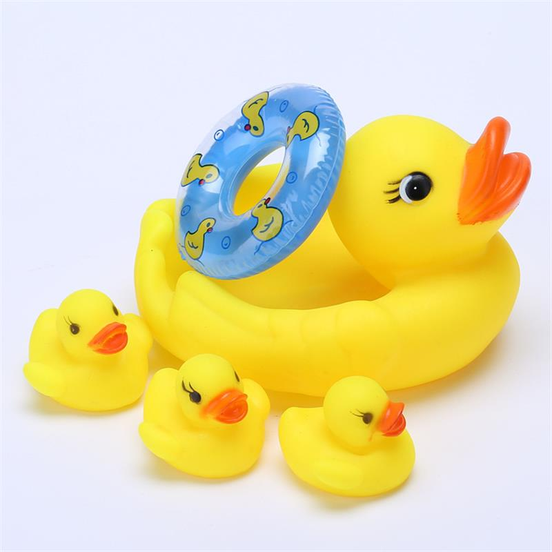5PCS Baby Toys Water Floating Children Water Toys Yellow Rubber Duck Ducky Baby Bath Toy for Kids Squeeze Sound Squeaky Pool