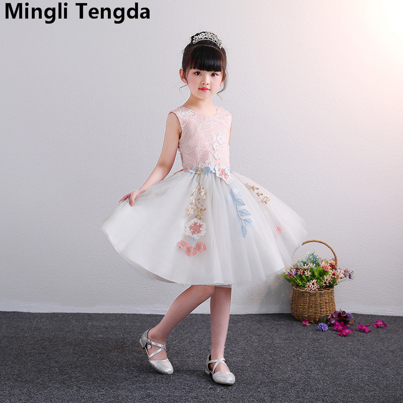 Mingli Tengda Pink   Flower     Girl     Dresses     Girls     Dresses   2018 Elegant Sweet Gown   Girls   Mesh   Flower     Dress   Lace Bow   Girls     Dresses   2018