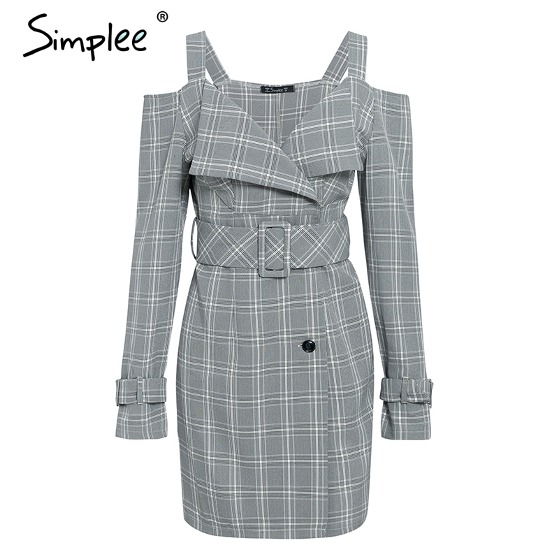 Image 5 - Simplee V neck plaid sash belt women dress Spaghetti strap button office ladies dress Autumn winter female short party dress-in Dresses from Women's Clothing