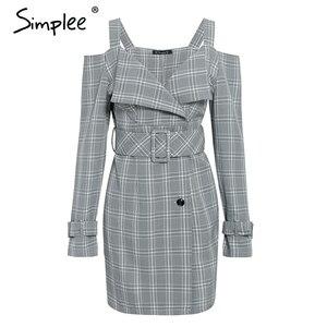 Image 5 - Simplee V neck plaid sash belt women dress Spaghetti strap button office ladies dress Autumn winter female short party dress