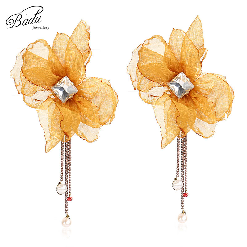 Badu Yellow Yarn Flower Stud Earring Elegant Style Zirconia Floral Chain Tassel Earrings For Women Fashion Jewelry For Party