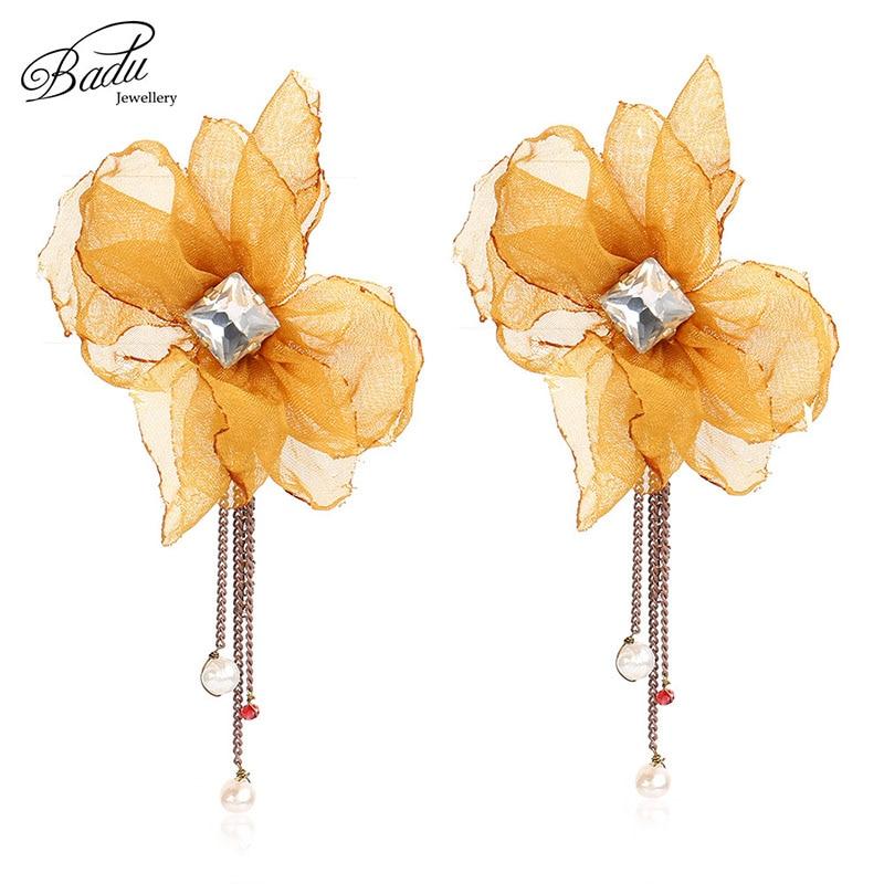 Badu Yellow Yarn Flower Stud Earring Elegant Style Zirconia Floral Chain Tassel Earrings For Women Fashion Jewelry For Party