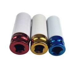 3 sztuk 17/19/21mm kolorowe rękaw opony rękaw ochronny ścienne głęboki wpływ nasadka do nakrętki kół ze stopu w Klucze od Narzędzia na