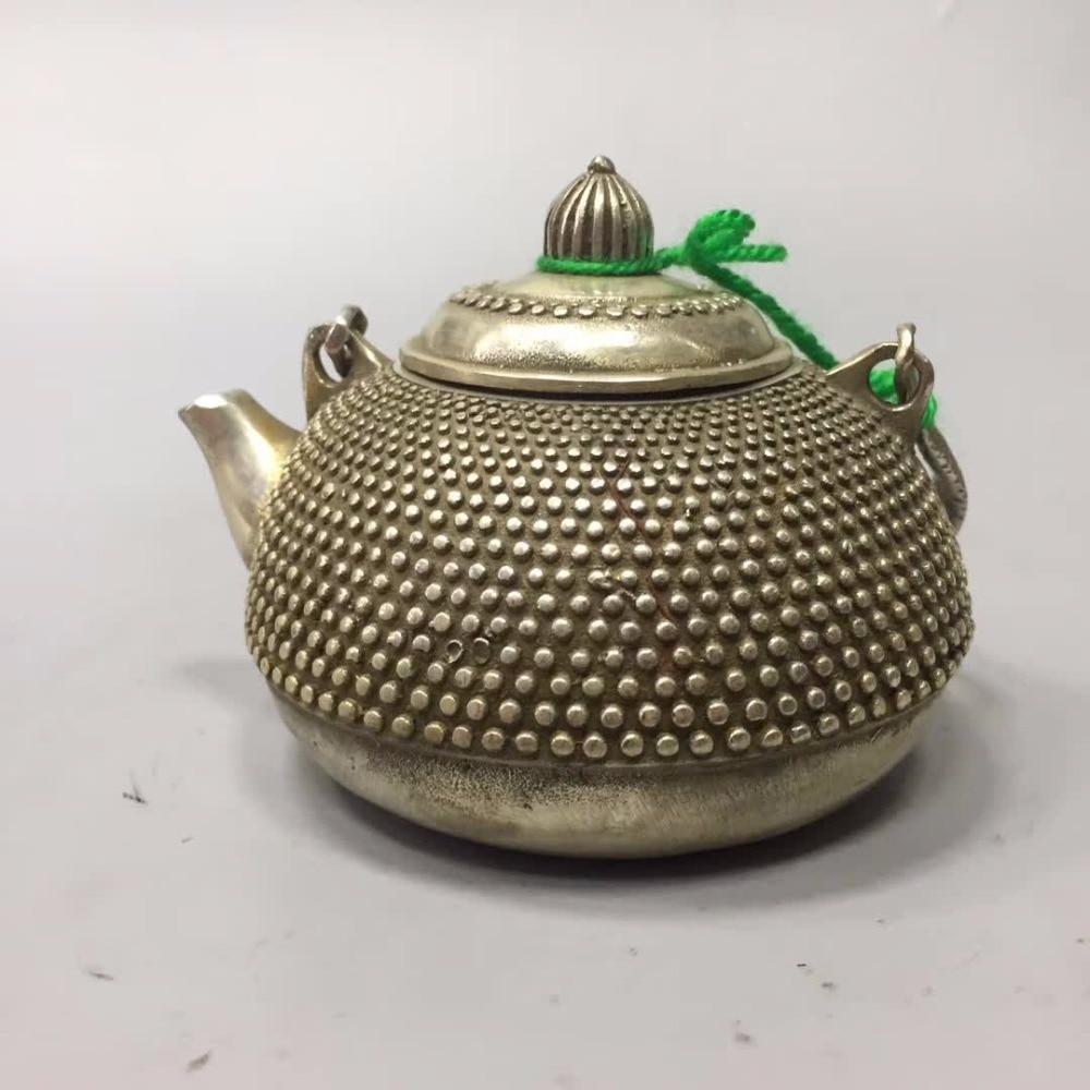 Bottles, Jars & Boxes Collection Tibet Silver Old Handmade Qianlong Pot /chinese Antique Tea Pot To Suit The PeopleS Convenience Home/desk Decoration Teapot Metal Crafts