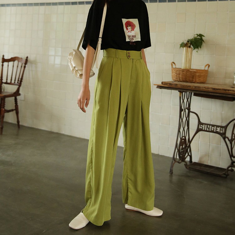 New Tencel   Wide     Leg     Pants   Women Summer Chic High Waist Straight   Pant   Lady Vintage Loose Casual Trousers