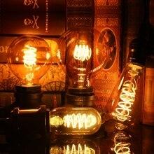LATTUSO T45 ST64 G80 G95 G125 spiralna żarówka ledowa 4W E27 Retro Vintage lampy oświetlenie dekoracyjne ściemniania Edison lampa