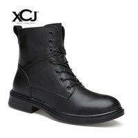 Из натуральной кожи Мужские ботинки Для мужчин Туфли без каблуков бренд зимние сапоги для Для мужчин повседневная обувь зимняя обувь Плюше