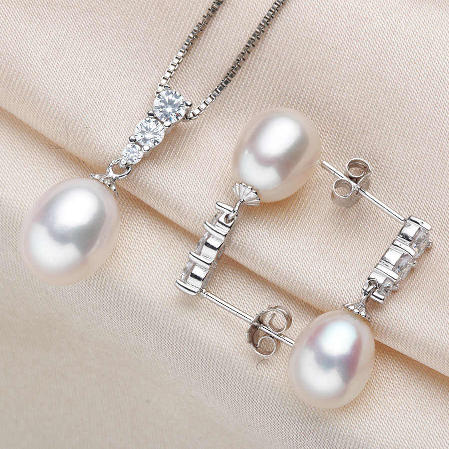 High Quality 7-8mm Pearl Jewelry Set Natural Women Fashion Zircon S925 Silver Genuine Freshwater Pearl Earrings+Pendant Wedding