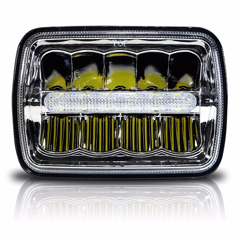 Square LED Headlight 7x6 5x7 Chrome Reflector Sealed Beam Replacement Motorcycle 7 inch Headlight DRL For Jeep Cherokee XJ YJ MJ 2000 jeep cherokee headlights