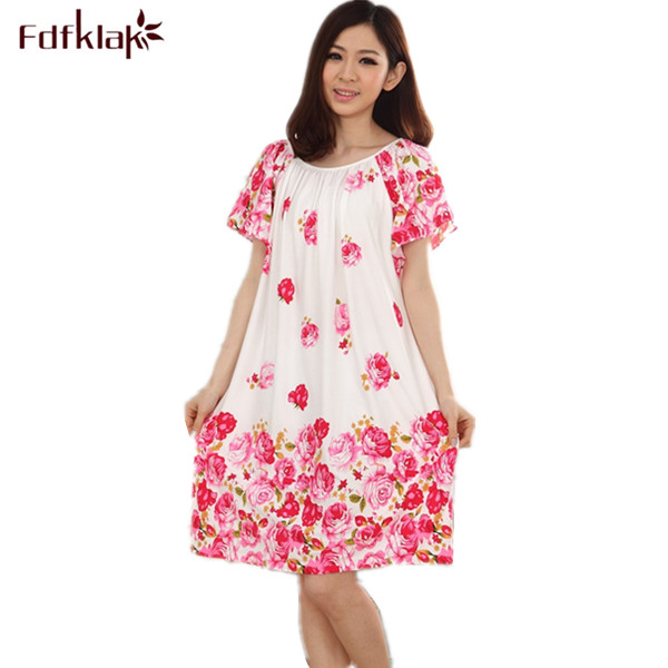 Plus Size Nightgowns For Women Long Cartoon Girls Nightshirts Nightdress Cotton And Silk Sleepshirt Summer Dressing Gowns E0021