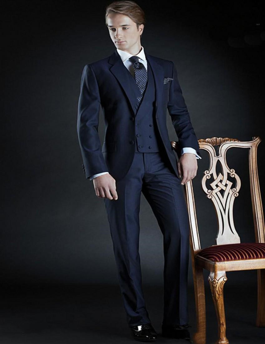 Classic Design Navy Blue Groom Tuxedos Notch Lapel Two Button Groomsmen Mens Wedding Dress Excellent Man Suits(Jacket+Pants+Vest