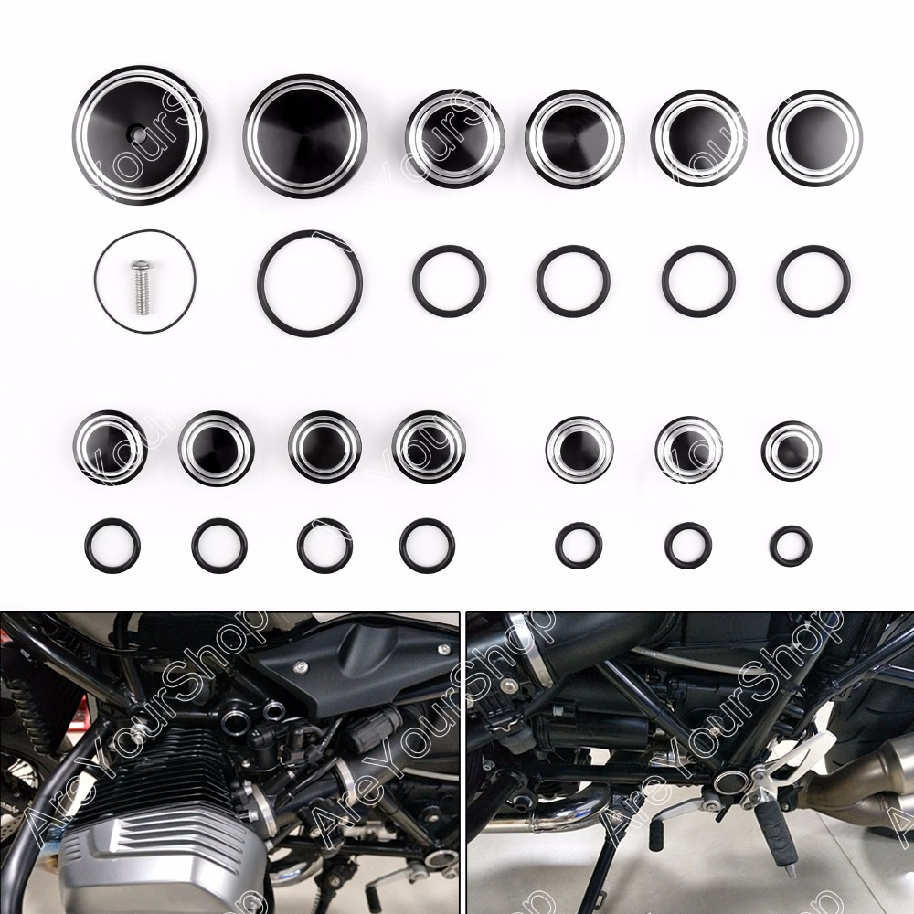 Areyourshop Motorcycle Frame Hole Caps Frame Cap Set For BMW R1200 R NINE T 14 16