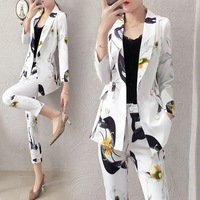 Set female 2018 autumn new temperament casual printing long sleeved small suit + trousers elegant fashion two piece suit women's