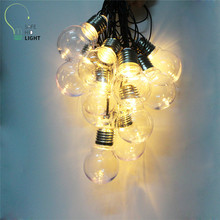 цены NEW 6M 20 LED G45 Globe Globe Patio String Light festoon Party Fairy String Lights Outdoor string light 110V/220V US/EU plug D25