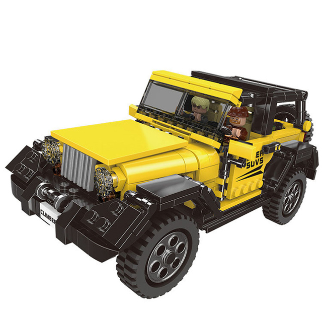 610Pcs Yellow Super Technic Jeep Model Building Blocks Offroad Cars  Compatible Legoings Technical Toys for Children Bricks Gift