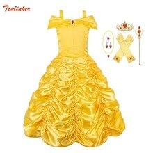 цены на baby girl belle dress Off Shoulder Fairy Tale Cosplay Halloween Party Dresses Kids Children Xmas Birthday Ball Gown Costume  в интернет-магазинах