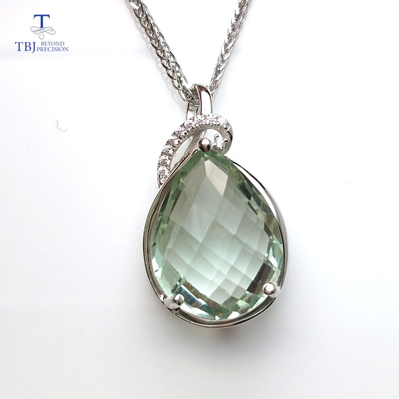 TBJ 925 sterling silver pendant with natural green amethyst pear 12 16mm checkboard cutting gemstone necklace