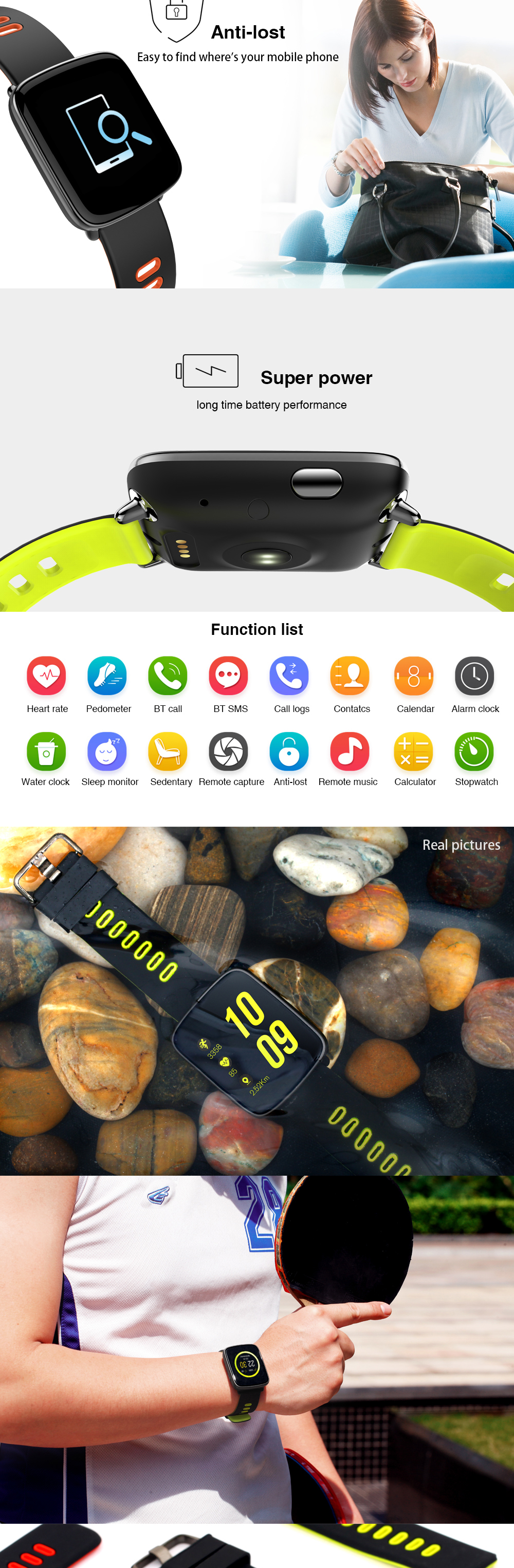 ALANTURING Bluetooth smart watch SW71 fitness activity tracker 2.5D screen sleep heart rate monitor remote control waterproof