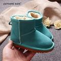 CCTWINS NIÑOS moda de invierno botas de piel para las niñas genuino zapatos de los muchachos de cuero negro botas de nieve niños botas calientes de la marca gris
