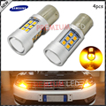 4pcs High Power Amber Yellow Error Free Samsung LED 2835-SMD BAU15S 7507 PY21W 1156PY LED Bulbs For Front Turn Signal Lights