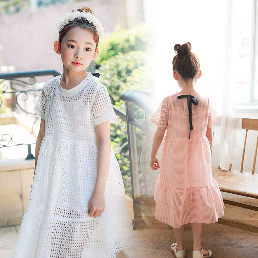 Hollow Out Cotton Baby Teenage Girls Dresses Summer 2018 Spring New White Knee Length Dresses For Girls 2 4 8 6 10 14 12 Years