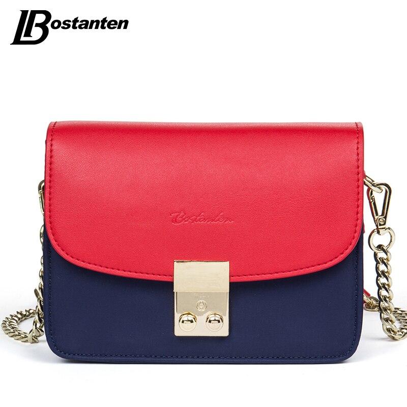 ФОТО Bostanten Women Messenger Bags Nylon Red Panelled Cover Flap-shaped Shoulder Bag Ladies Chains Waterproof Women Crossbody Bags