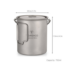 TOMSHOO 750ml Titanium 2 in 1 Pot & Water Mug with Lid and Foldable Handle