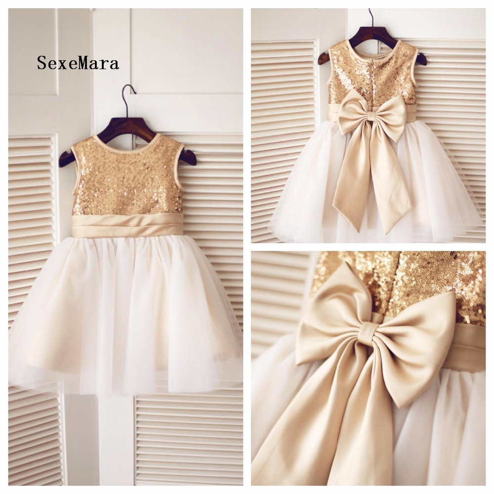 Real Picture 2018 Champagne Flower Girl Dress Tulle Sequined Sleeveless Jewel Neck with Bow Baby Girls Birthday Dress