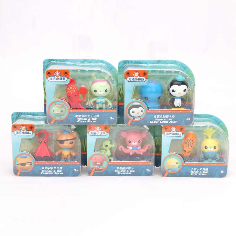 Pacote de 2 Octonauts Brinquedos 5-7 centímetros Acessórios Polvo Veículo Cracas Capitão Kwazii Peso Ajustar Dashi Professor Mini modelo Bonecas