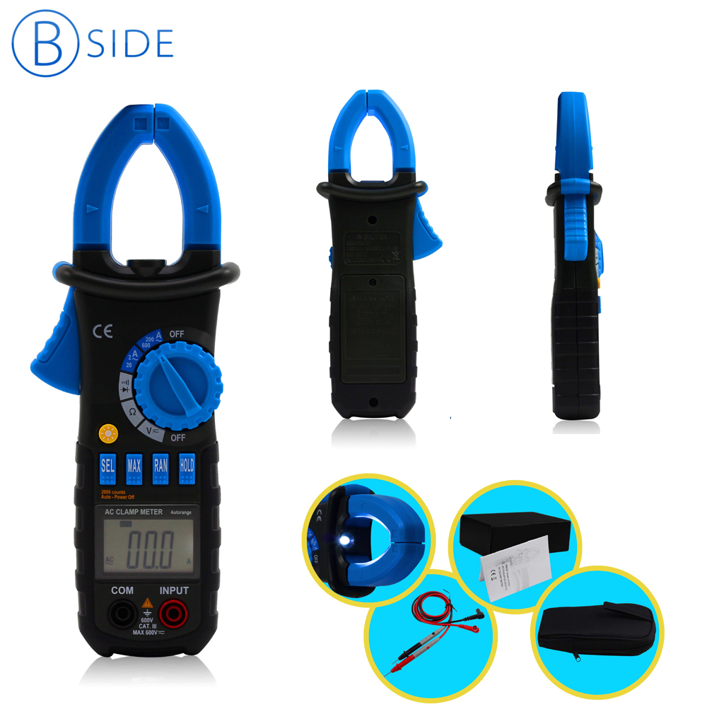 BSIDE ACM01 3 1/2 counts Digital AC 600A AC/DC 600V Clamp Multimeter Volt Amp Tester Voltage Resistance Meter Backlight bside acm01 counts auto range 600a digital electrician clamp meter multimeter ac dc voltmeter ammeter resistance meter tester