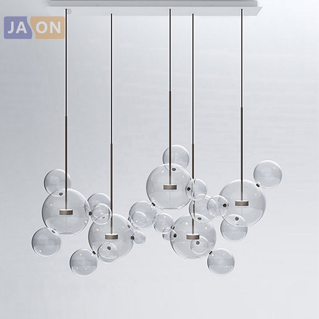 LED Postmodern Iron Glass Bubbles Golden Chandelier Lighting.Chandelier LED Lamp.LED Light For Dinning Room Foyer