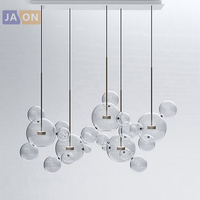 LED Postmodern Iron Glass Bubbles Golden Chandelier Lighting.Chandelier LED Lamp.LED Light For Dinning Room Foyer