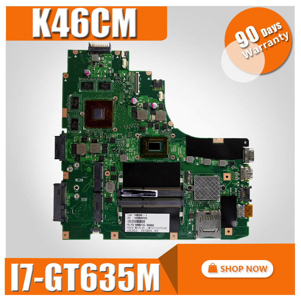 K46CM Motherboard I7 GT635M REV2. 0 For ASUS K46C K46CB S46C A46C A46CM Laptop motherboard K46CM Mainboard K46CM Motherboard original for asus k46cm rev2 0 with 987 cpu motherboard 60 ntjmb1101 c03 1g hm76 chipset gt635m 2gb ddr3 work perfect