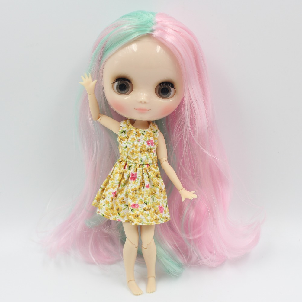 Middie blyth doll bjd neo 1/8 20cm joint body with handsets gift toy 1017/4006 centra parting pink mix mint hair цена