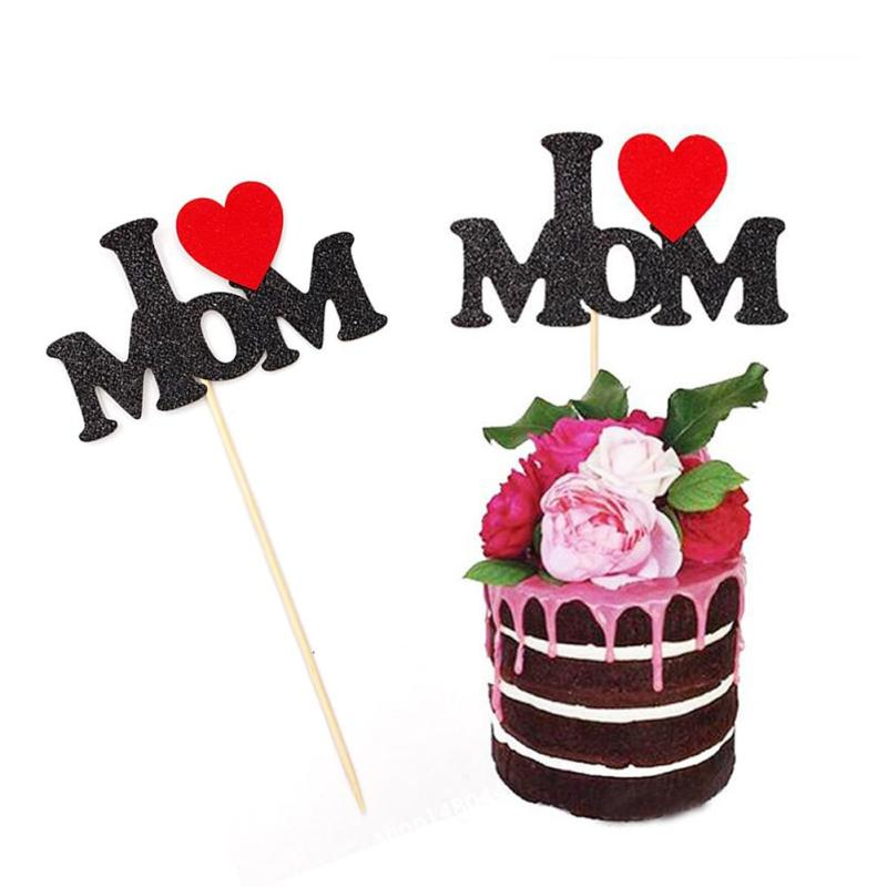 Fantastic 1Pcs I Love Mom Birthday Cake Topper Party Decorations Mothers Personalised Birthday Cards Beptaeletsinfo