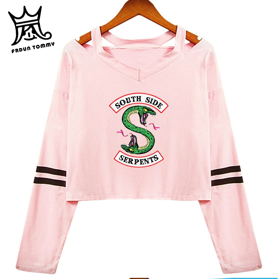 Riverdale South Side Serpent Sexy Long Sleeve Cotton Crop Tops Shirt Women Off-shoulder Shirt Girl Streetwear Women Clothes
