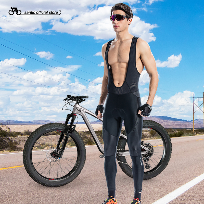 Santic Men Cycling Bib Long Pants Bike Bicycle Padded Pants Road MTB Bib Pants 4-5 Hours Long Distance Asian Size S-3XL M8C04101